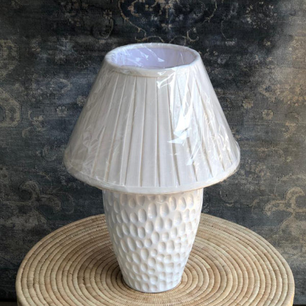 White Simple Ceramic Base, Linen Pleated Shade