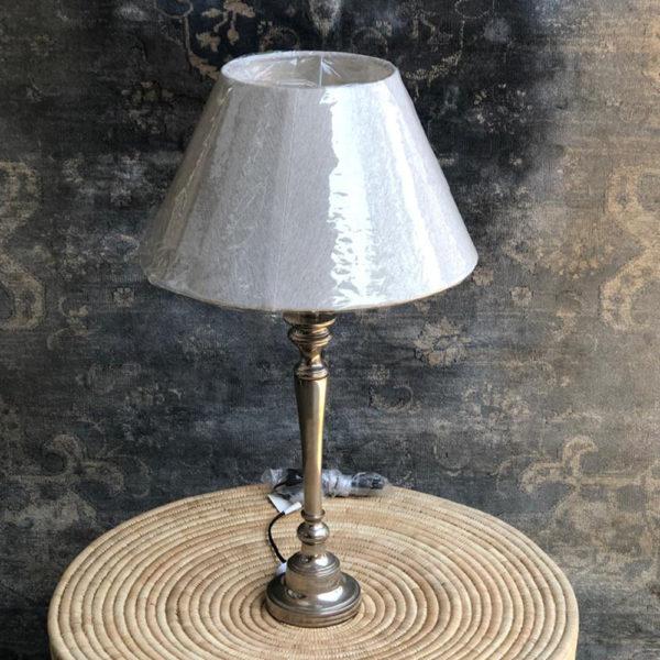 Silver Lamp Base, Grey Shade
