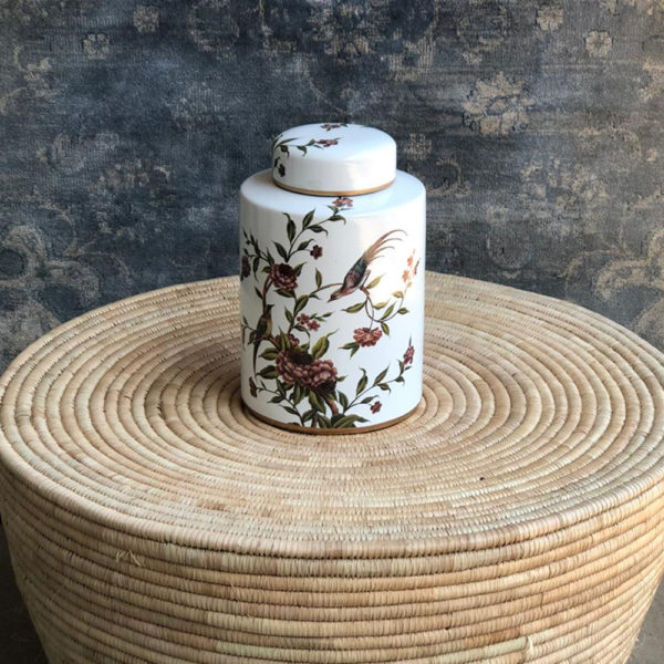 White with Red Flower Décor Jar