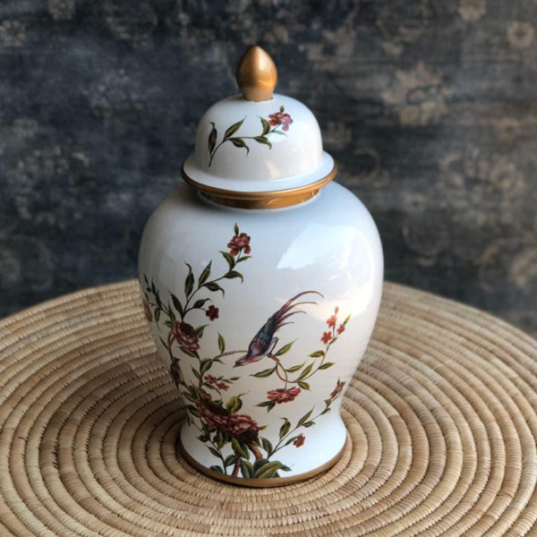 White with Red Flower Temple Jar