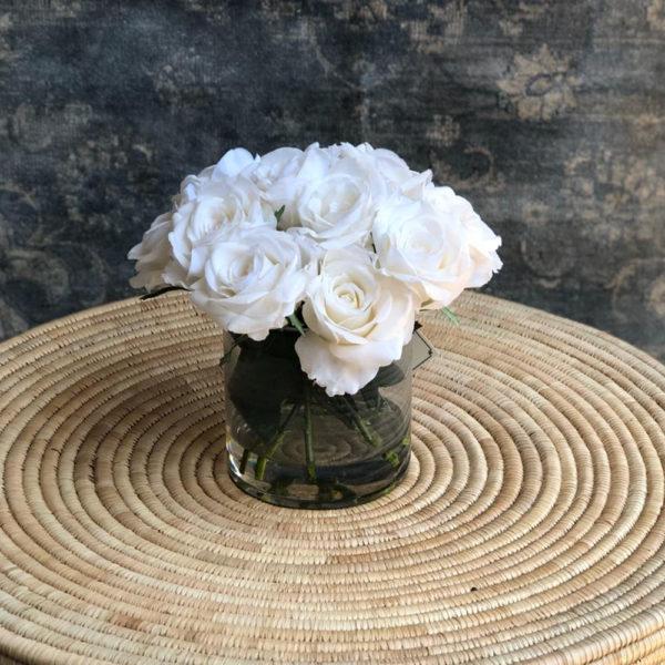 Olive Rose Vase - White