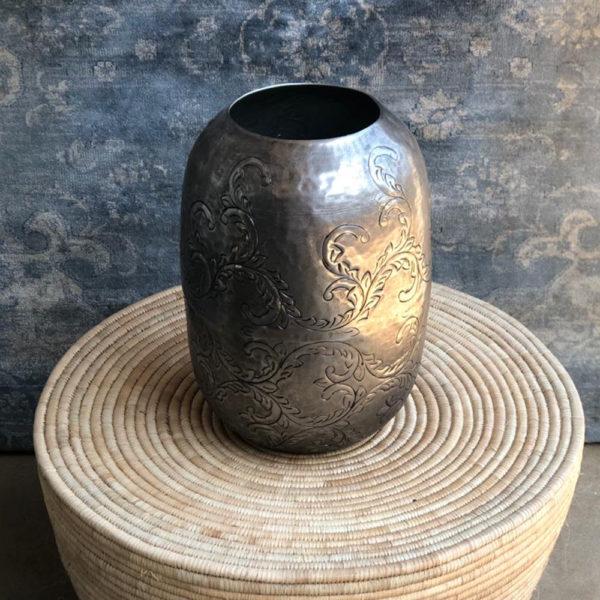 Silver Embossed Bullet Vase