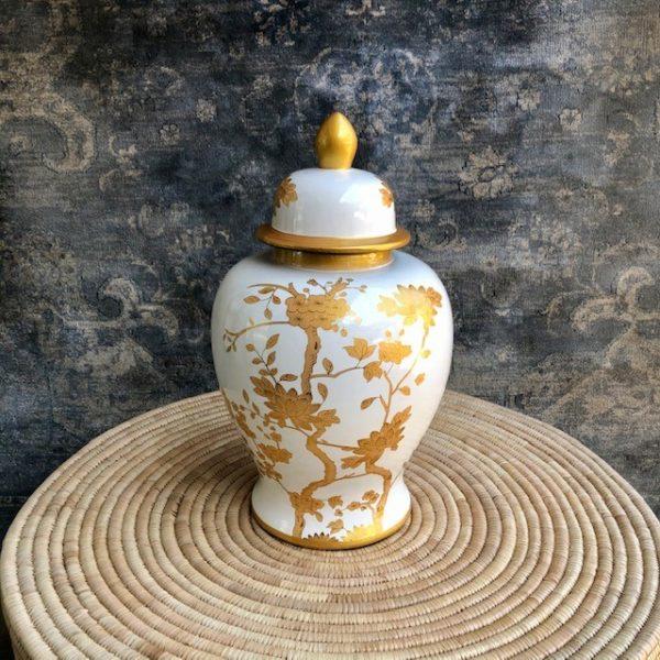 White & Gold Temple Jar
