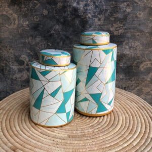 Blue & Gold Abstract Jars