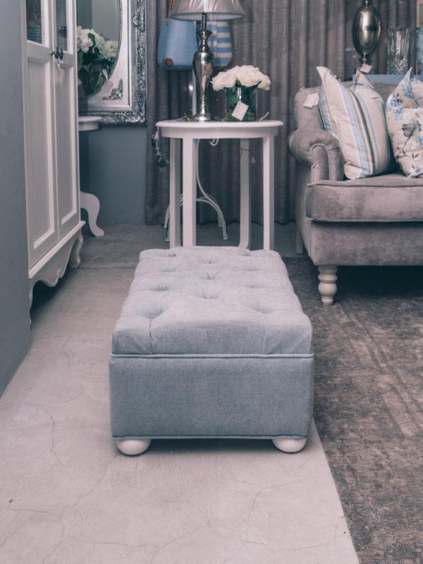 Deep Button top fabric foot stool